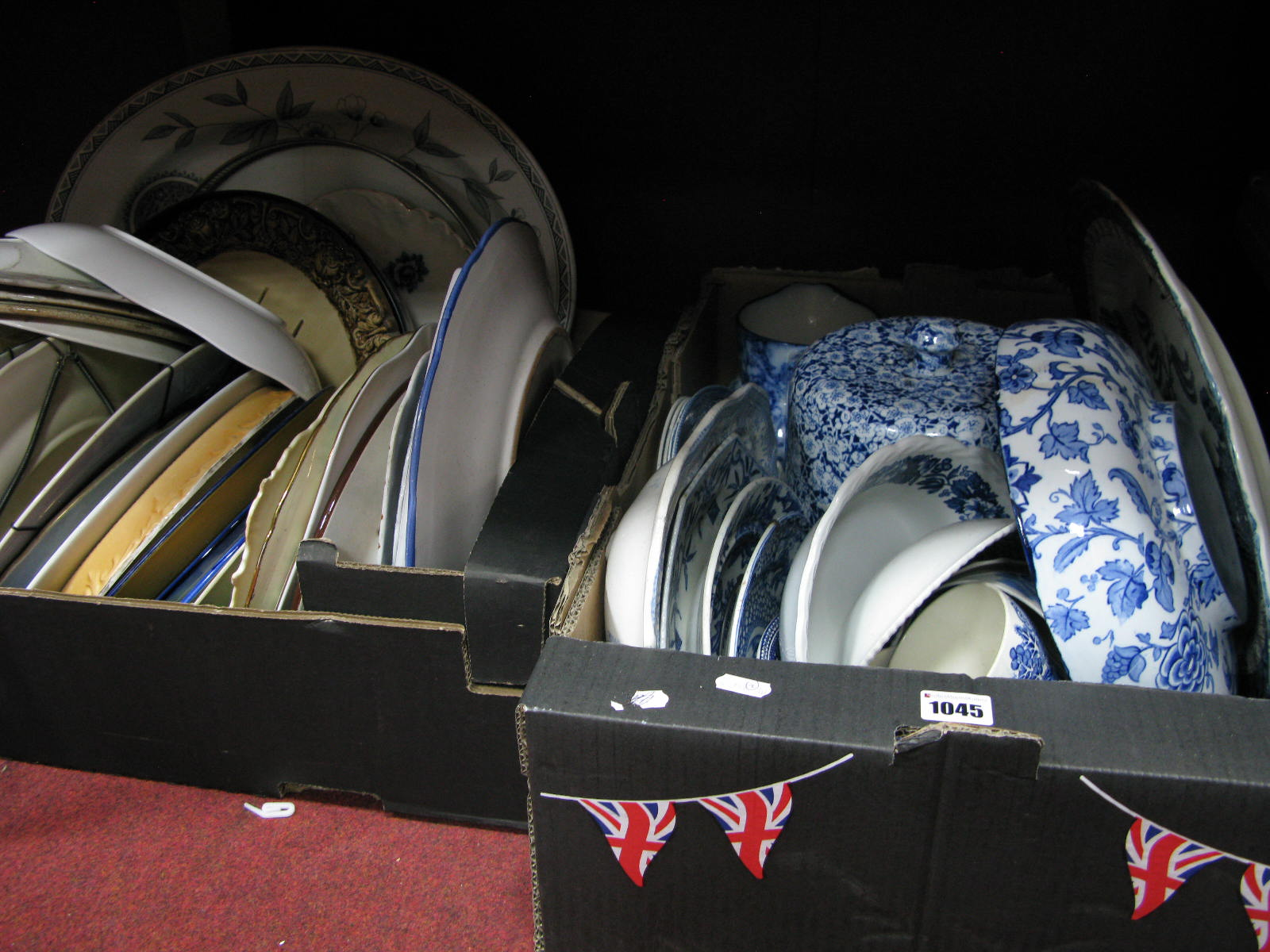Lot 1045 - A Quantity of Blue and White Pottery, various plates:- Two Boxes
