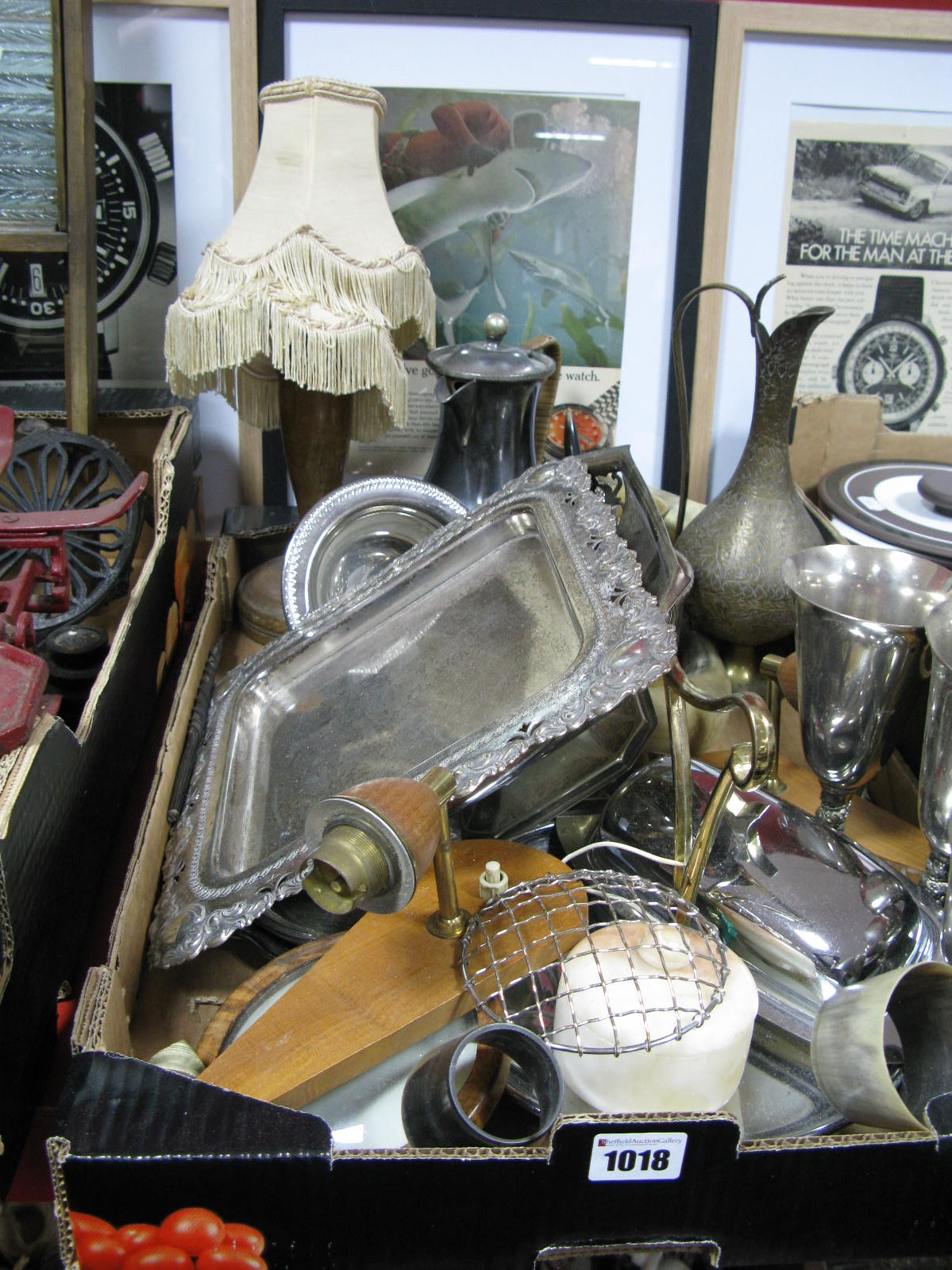 Lot 1018 - A Plated Pierced Bon Bon Dish, plated goblets, Indian brass jug, butter dish, horn penguins, etc:-