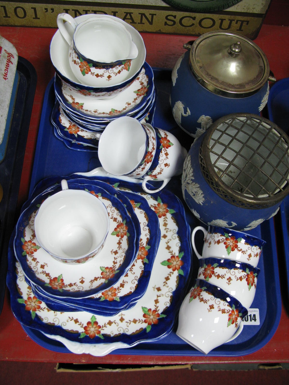 Lot 1014 - Bell China Tea Service, Wedgwood Saspor Biscuit Barrel Posy Vase:- One Tray