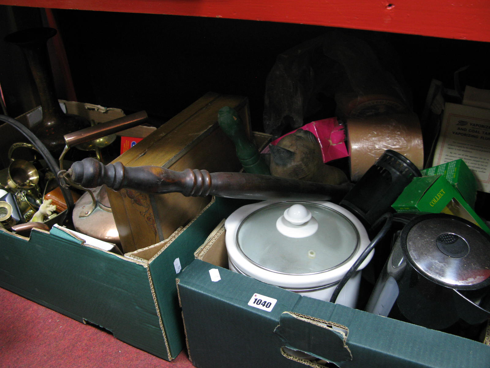 Lot 1040 - A XIX Century Copper Kettle, brassware, beer mats, kettle, etc:- Two Boxes (Untested Sold For