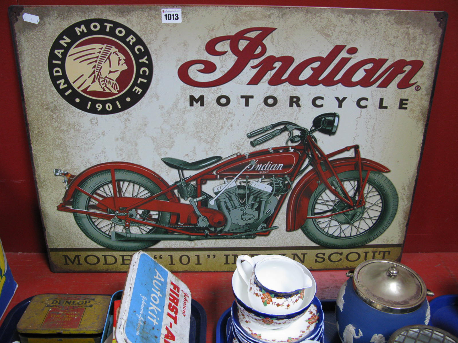 Lot 1013 - An Indian Motor Cycle Wall Sign.