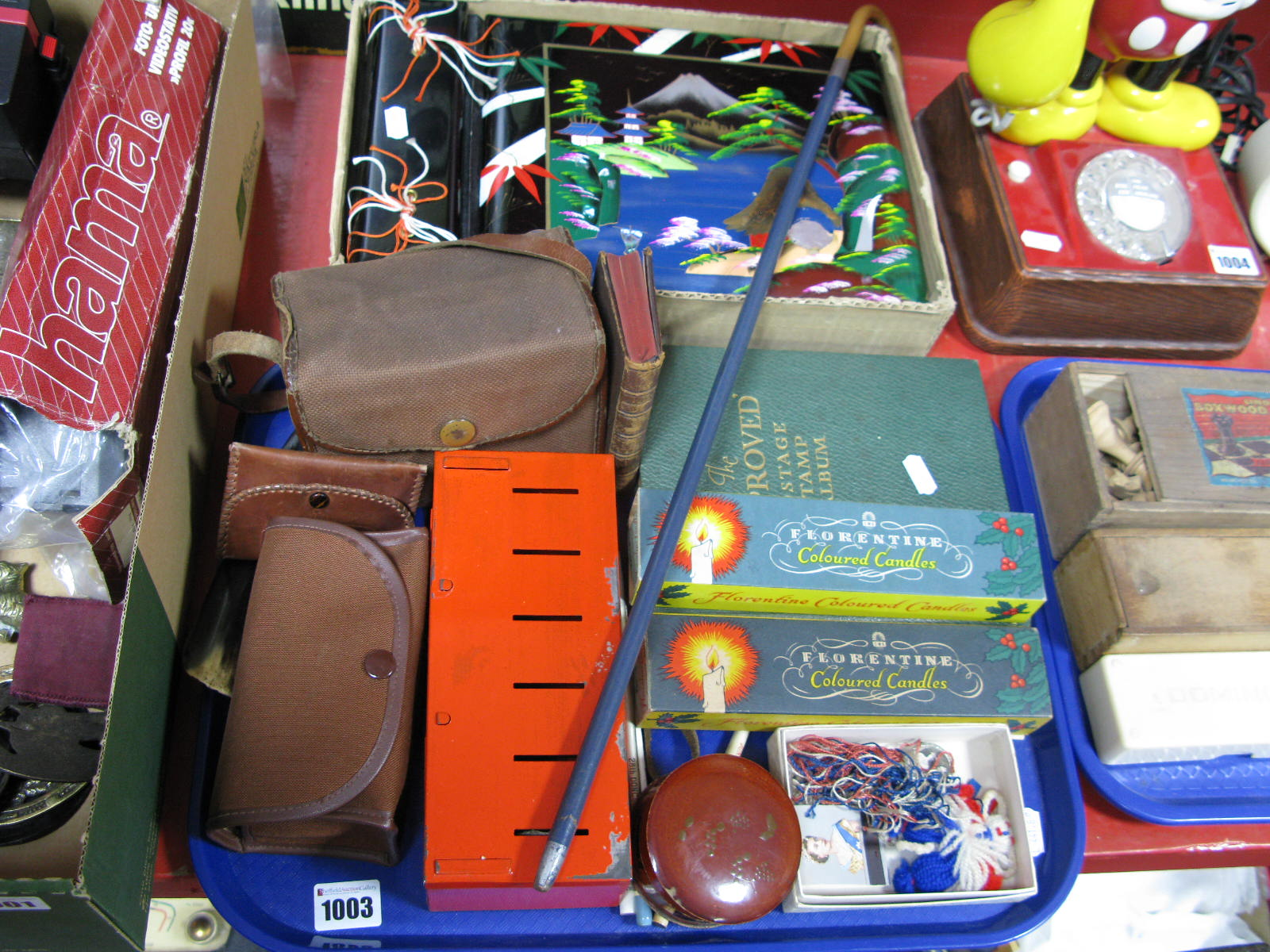 Lot 1003 - A Schoolboy Stamp Album, two boxed C.W.S. coloured candles sets, Box Brownie, savings tin, lacquered