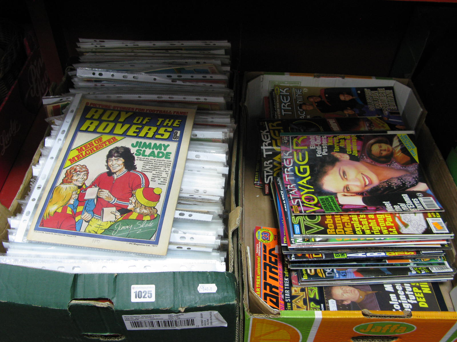 """Lot 1025 - One Box of Comics """"Roy of the Rovers"""", from 1976-1983, (some missing), together with Star Trek"""