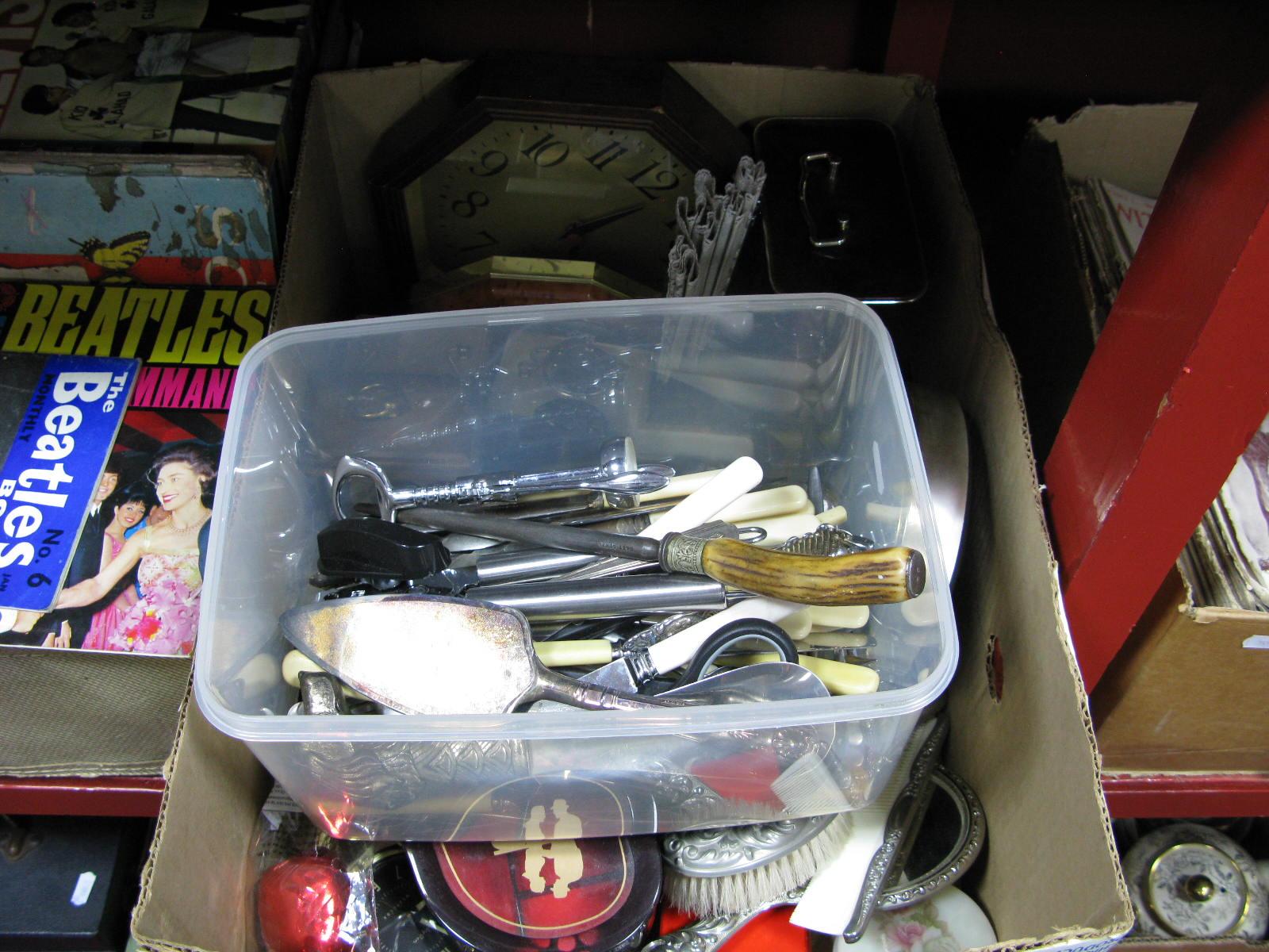 Lot 1030 - Cutlery, clocks, fan, etc:- Two Boxes