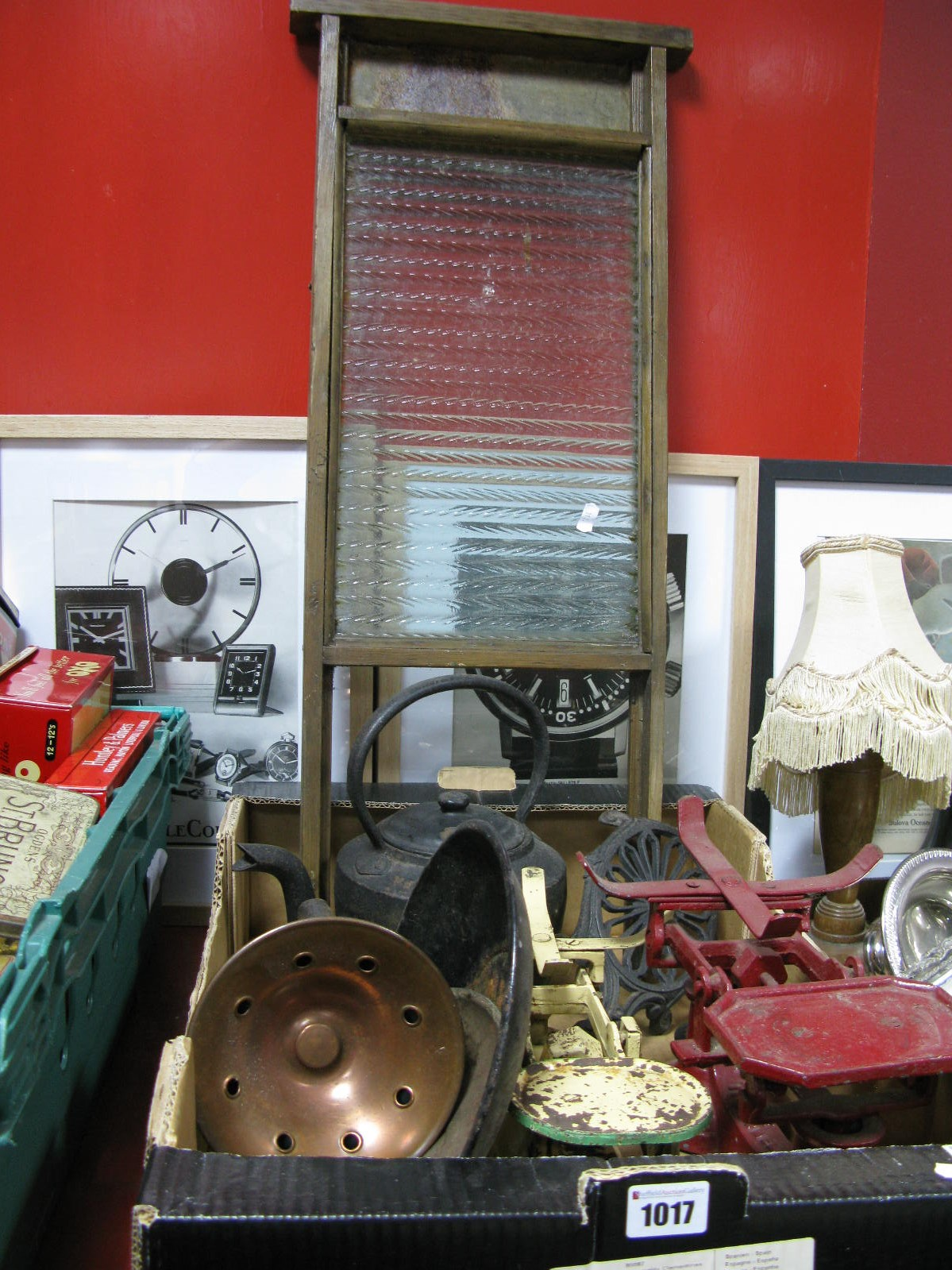 Lot 1017 - A XIX Century Cast Iron Kettle, trivets, scales, flat iron, scrub board, etc:- One Box