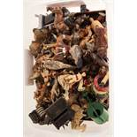 A large selection of die cast lead figures of animals and figures