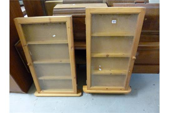 TWO PINE WALL MOUNTED DISPLAY CABINETS