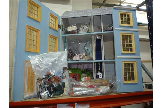 A GEORGIAN STYLE DOLLS HOUSE, With Dolls And Furniture Together With Mattel  Ken And Barbie Dolls