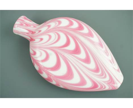 A 19th Century Nailsea pink and white glass flask, 18 cm