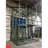 """Racking Mezzanine System, with (6) 21' x 42"""" Uprights, Crossbeams, & Roller Conveyor Decking Rigging"""