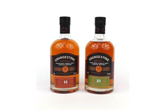two 75cl bottles of grangestone single malt scotch whisky one cask