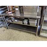 """24 x 60"""" 3 Tier Stainless Steel Table with Backsplash"""
