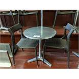 7 Chrome Tables with 12 Enu Rattan Chairs