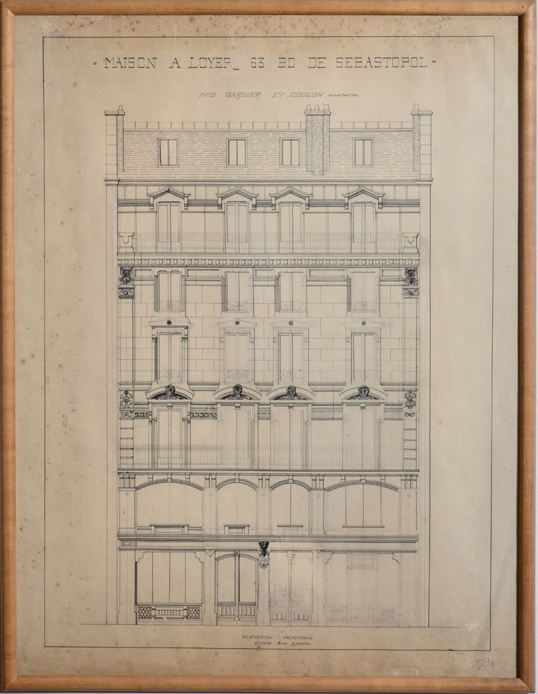 French School Architectural Drawings Eight Pencil And Or