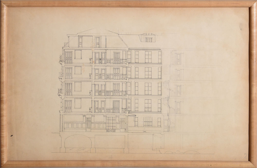 French school architectural drawings eight pencil and or for Architectural drawing paper sizes