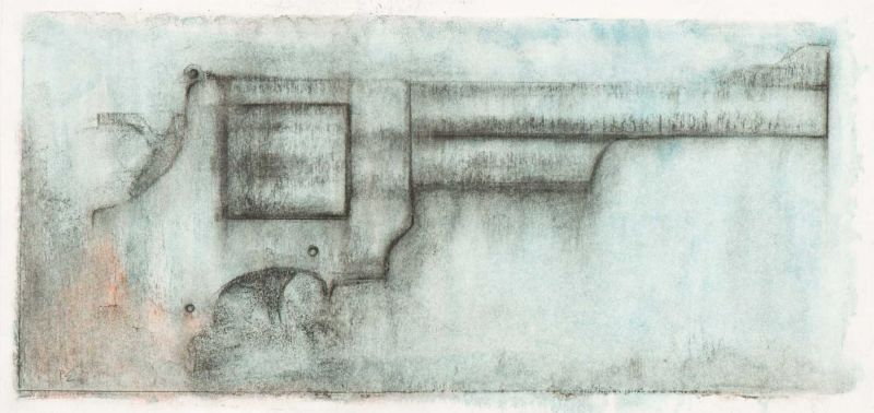 Lot 59 - Peter Engelen (Tilburg 1962) Smith & Wesson Signed with initials l.l. Oil pastel on paper, 20.4 x