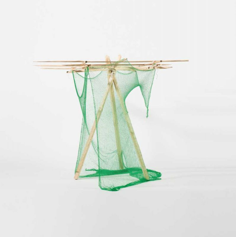 Lot 12 - Maddy Arkesteyn (Goirle 1966 - Brussels 2012) 25 (Tent) (circa 1994) Wood, netting and rope, H.