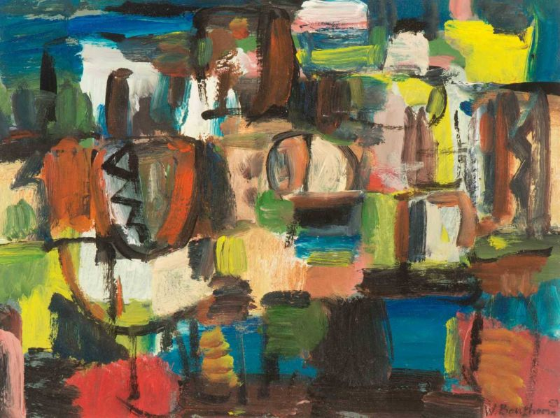 Lot 31 - Wil Bouthoorn (The Hague 1916 - 2004) Composition Signed and dated 59 l.r. Oil on cardboard, 29.4 x