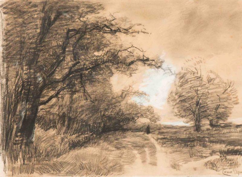 Lot 4 - Louis Apol (The Hague 1850 - 1936) A walk along the forest Signed l.r. Pastel op paper, 41.3 x 57.2