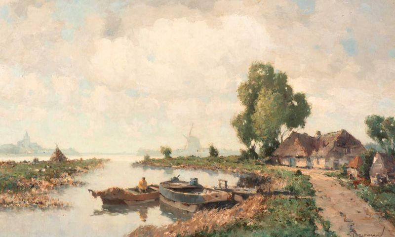Lot 48 - Gerard Delfgaauw (Monster 1882 - Rijswijk 1947) Homecoming Signed l.r. Oil on canvas, 50.4 x 80.4