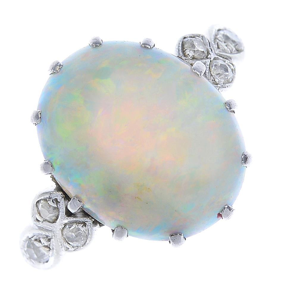 Lot 33 - An early 20th century 18ct gold and platinum, opal and diamond ring.