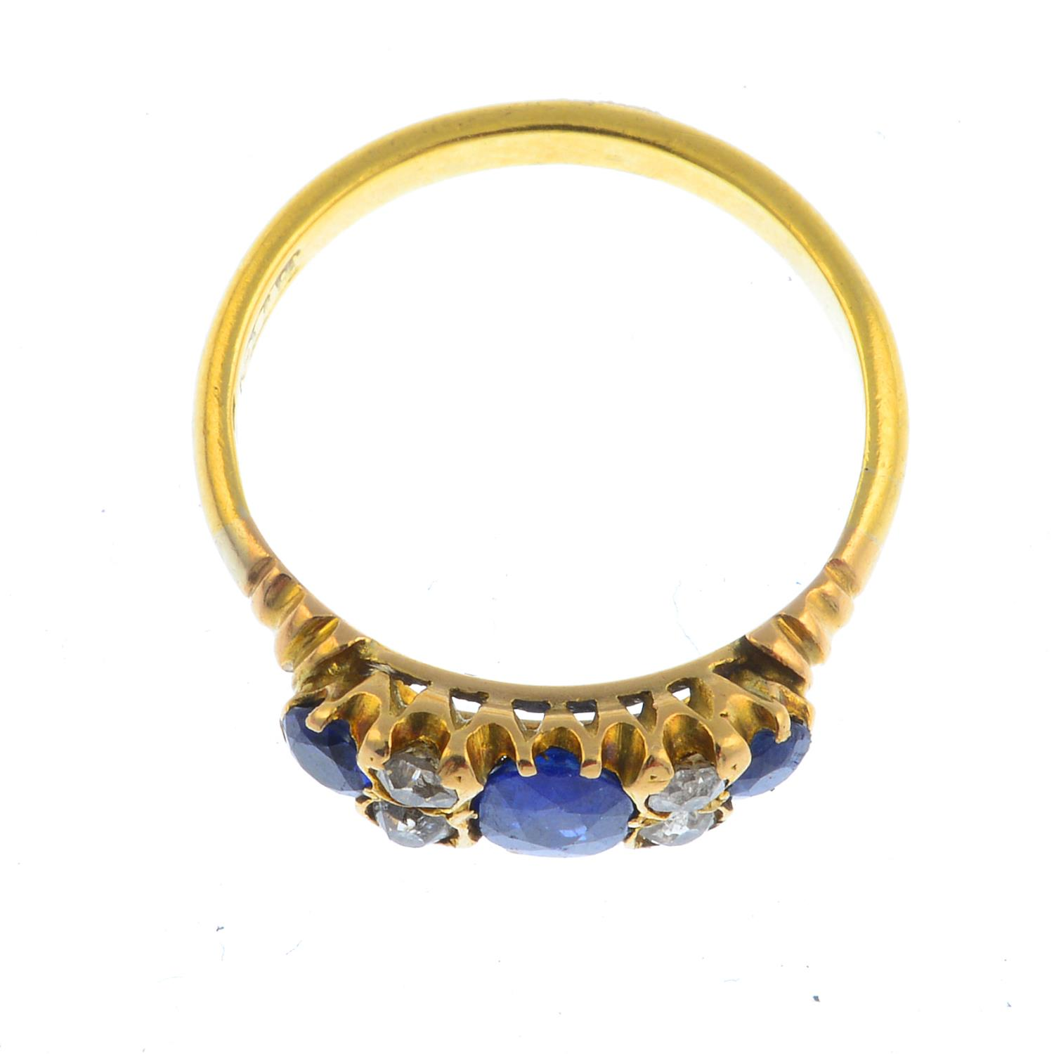 Lot 15 - An early 20th century 18ct gold sapphire and diamond ring.