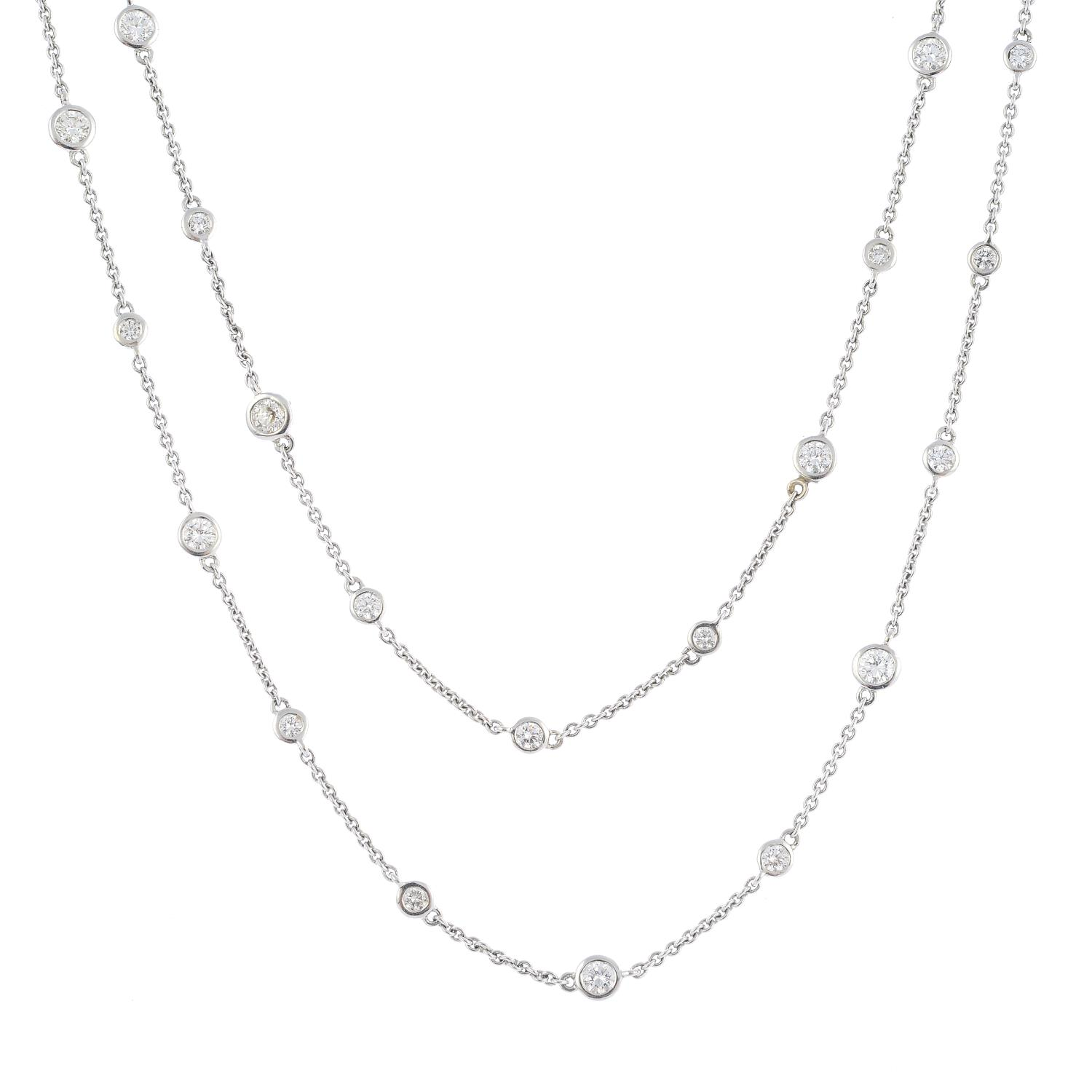 Lot 54 - A diamond necklace.