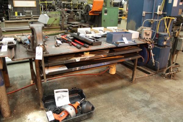 "Lot 50 - Metal Shop Bench, 8' x 4' x 3/4"", W/Vise and Hose Reel | Location: PM3 2nd Floor Machine Shop"