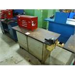 "Rolling Work Bench, approx. 24"" x 60"" c/w 6"" Bench Vice & Contents"