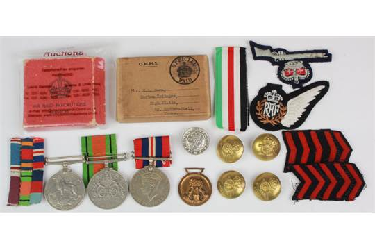 Mixed lot inc WW2 British and German Medals, buttons, Badges etc (qty)