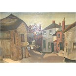 June Woolley, 'Courtyard, Moretonhampstead', a signed oil on board, 49 x 74.5cm, titled verso.