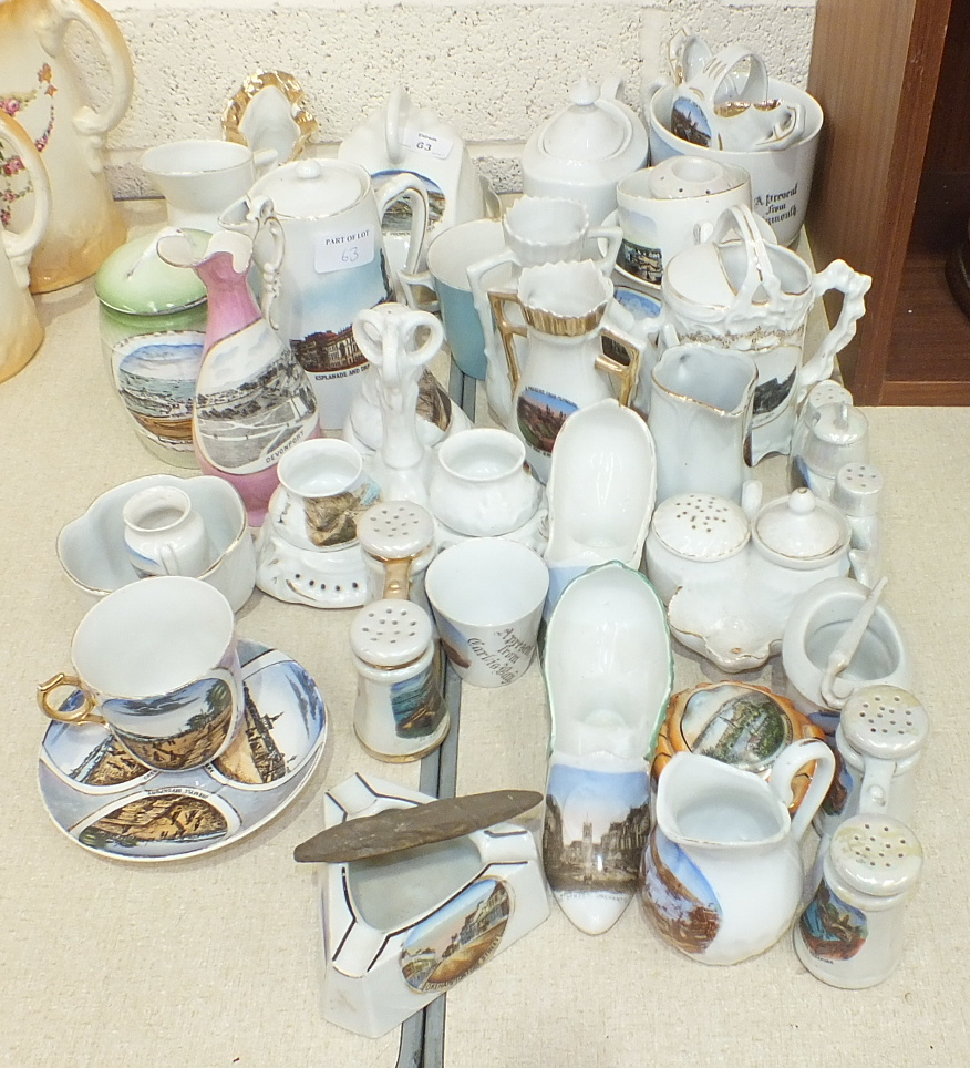 A collection of late-19th/early-20th century ceramic souvenir items, all with scenes of Plymouth and
