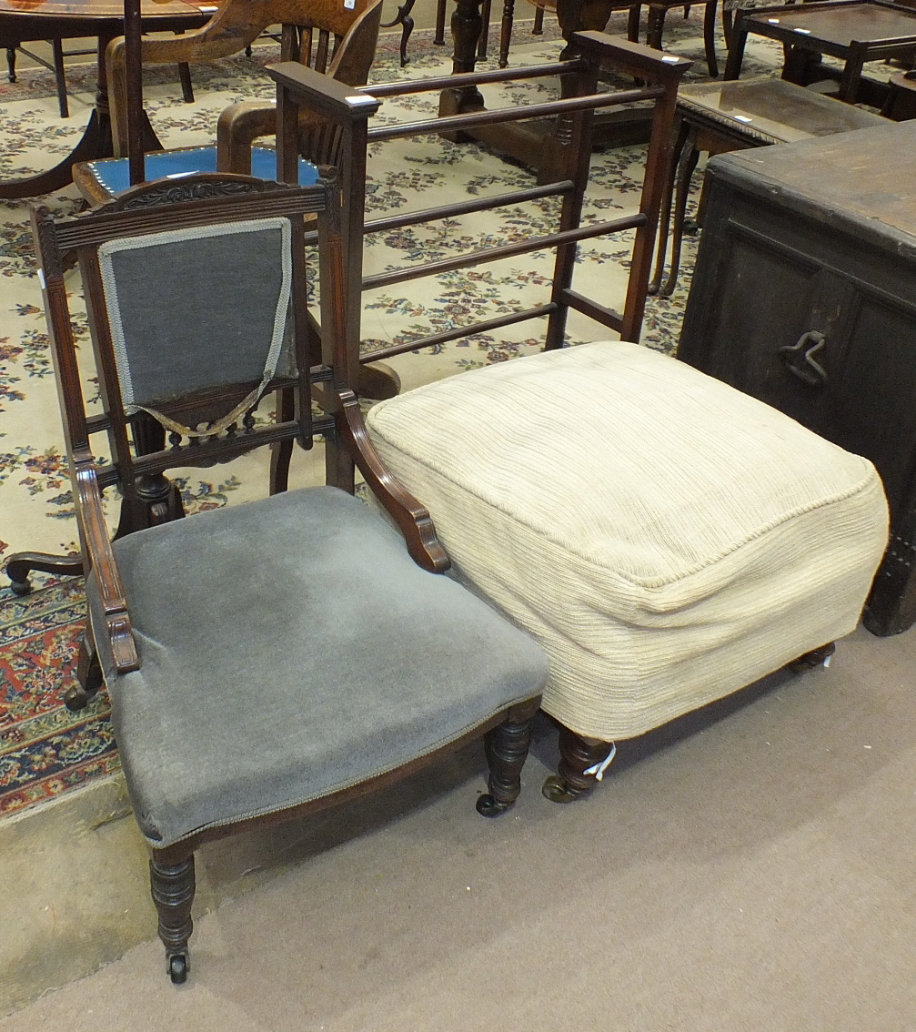 A late-19th century upholstered square stool on turned legs with brass castors, 53cm, (a/f), an