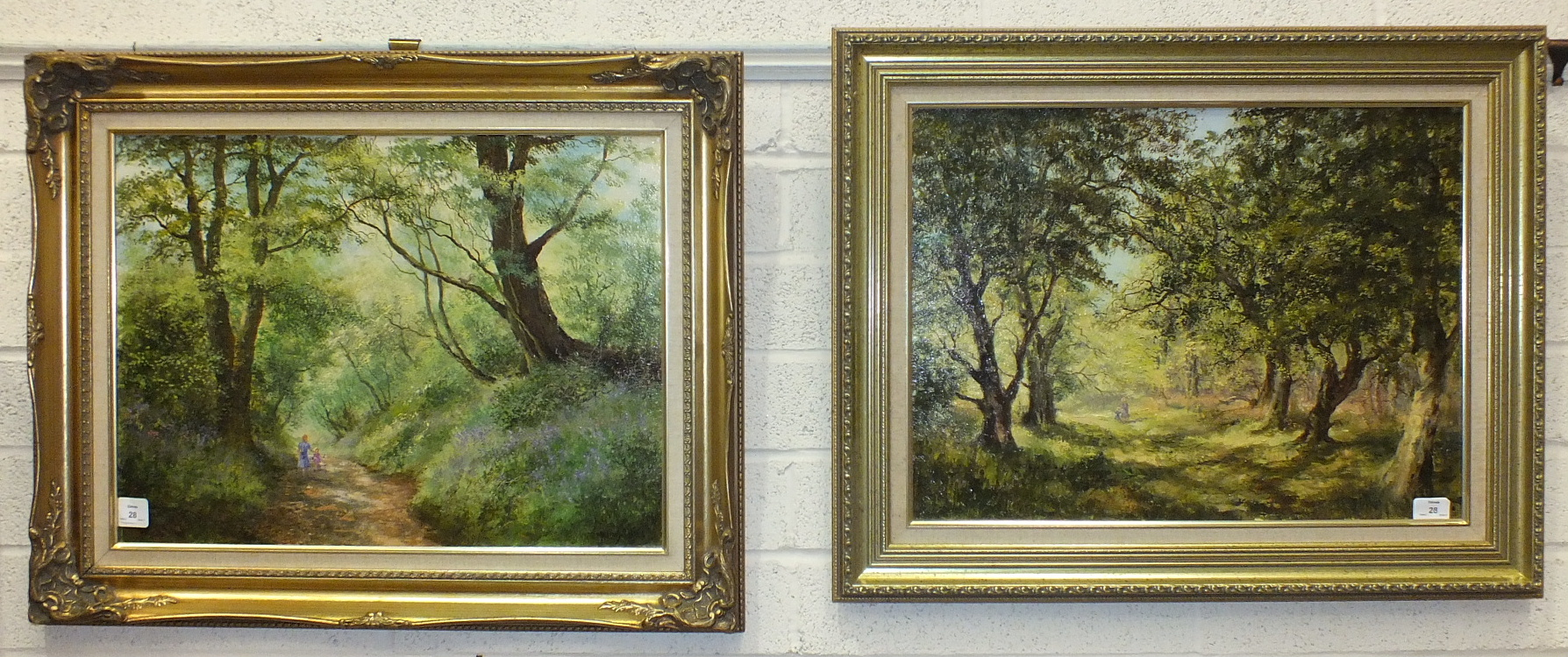 J M Wells Price, 'Sunshine & Shadows', a signed oil on canvas, 45 x 60cm, titled label verso and a