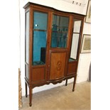 An Edwardian inlaid mahogany glazed display cabinet on square legs and spade feet, 118cm wide, 173cm