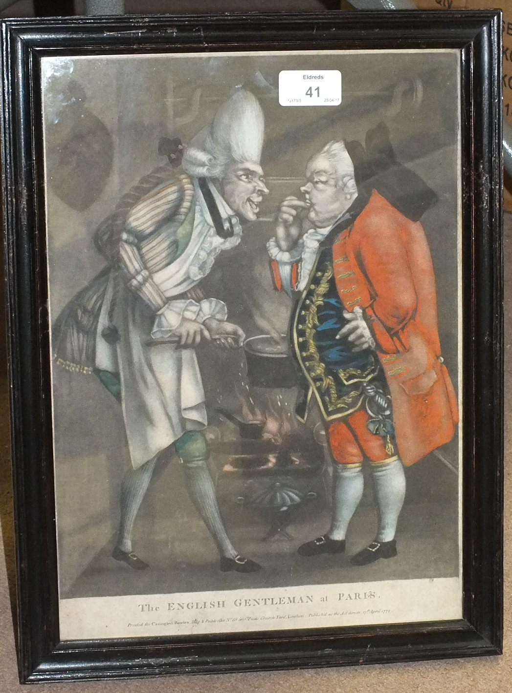 Lot 41 - A satirical coloured engraving 'The English Gentleman At Paris', printed for Carrington Bowles,