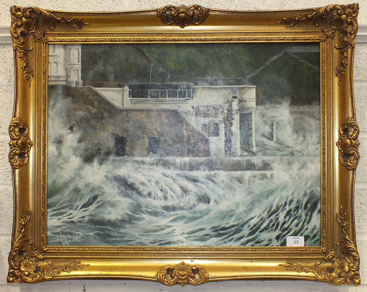 Lot 33 - John Lawer, 'Storm Abates West Hoe, Plymouth, January 25th 1990', a signed oil on canvas, titled