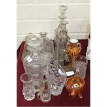 A cut-glass decanter and stopper, 20cm high, two others, (1 a/f) and various glassware.