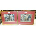 A collection of 19th century coloured engravings depicting 'The Seasons', a pair of oval-framed