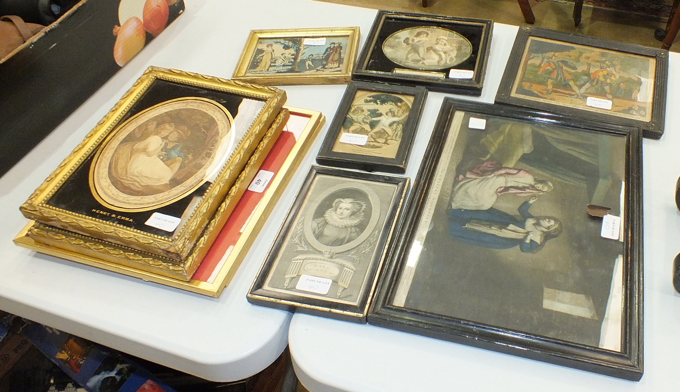 Lot 40 - A collection of 19th century coloured engravings depicting 'The Seasons', a pair of oval-framed