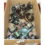 A collection of fourteen sea fishing reels, including Alvey 455, 515, Penn No.100, No.10, No.160,
