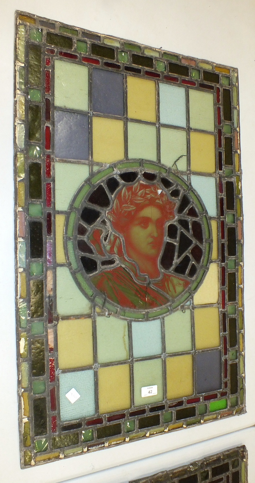 A pair of leaded-light window panels comprising thirty-five various coloured panels and multiple - Image 6 of 7