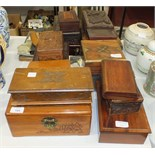 Various carved wood and other boxes and miscellaneous items.