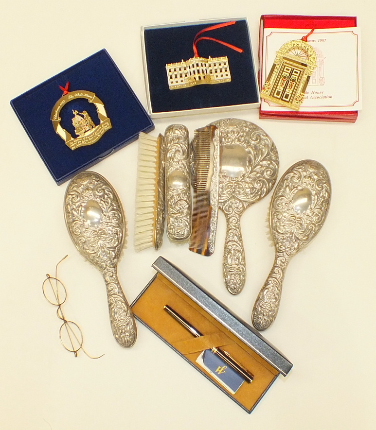 Lot 165 - A modern six-piece silver backed dressing table set and miscellaneous items.
