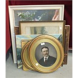 A pair of gilt oval picture frames, 44 x 39cm, various pictures and prints.
