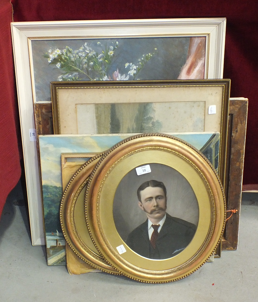 Lot 38 - A pair of gilt oval picture frames, 44 x 39cm, various pictures and prints.