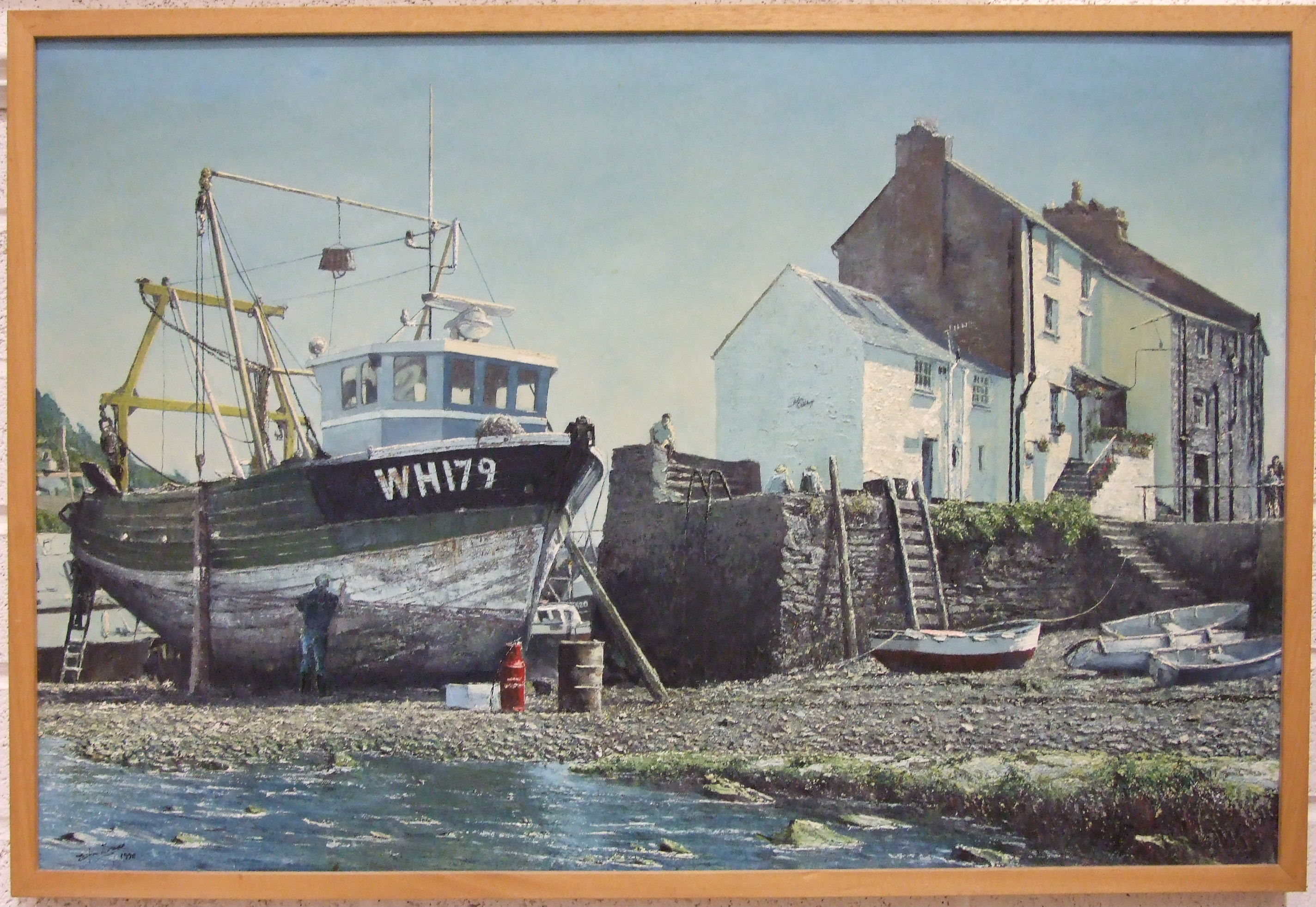 Lot 62 - E Thomas, 'Polperro, Low Tide, with fishing boat WH179', a signed oil on canvas, 59 x 90cm, dated