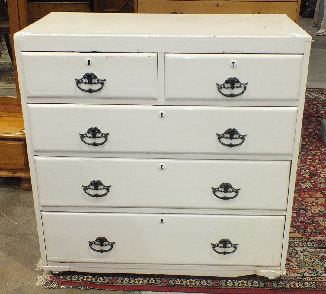 A late-19th century painted pine straight-front chest of two short and three long drawers, 93.5cm
