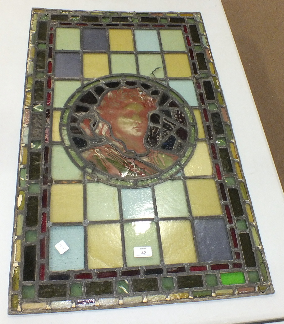 A pair of leaded-light window panels comprising thirty-five various coloured panels and multiple - Image 7 of 7