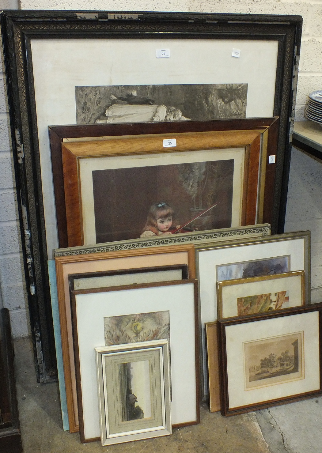 Lot 23 - A coloured lithograph of a young girl playing a violin, 68.5 x 48.5cm and other pictures and